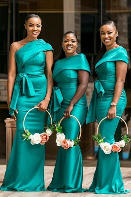One Shoulder Ribbon Belt Floor Length Bridesmaid Dresses | Sexy Maid of Honor Dresses_1
