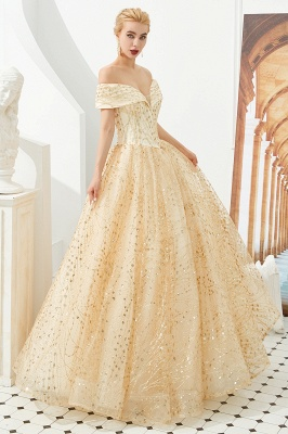 Off the Shoulder A-line Long Lace Beaded Prom Dresses |  Floor Length Evening Dresses_7