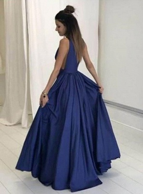 2019 Dark Navy Prom Dresses Deep V-Neck with Pockets A-line Evening Gowns_3