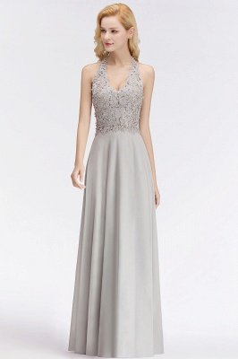 Elegant Halter A-line Appliques Chiffon Long Bridesmaid Dresses | Simple Wedding Guest Dresses_10