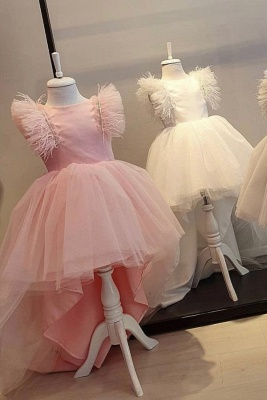 Cute Hi-Lo Jewel Cap Sleeves Tulle Flower Girl Dresses | Dress for Flower Girls