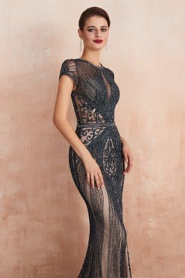 Cap Sleeves Keyhole Jewel Gorgeous Beaded Long Prom Dresses | Elegant Long Evening Dresses_17
