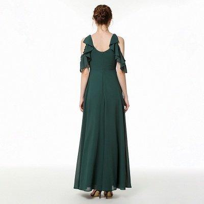 Cold-Shoulder Chiffon Floor Length Jewel Prom Dresses Simple Bridesmaid Dresses_4