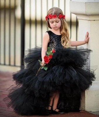 Jewel Sleeveless Hi-Lo Open Back Sequins Tulle Ball Gown Flower Girl Dresses_5