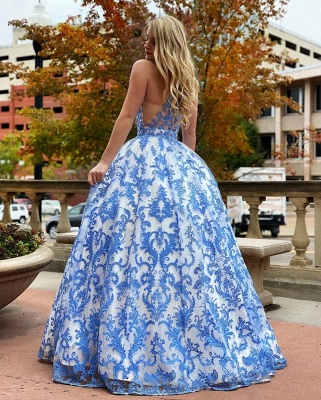 Chic Floor Length Jewel Sleeveless Cut-Outs Ball Gown Lace Prom Dresses_2
