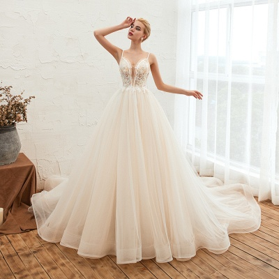 Gorgeous Spaghetti Straps V-neck Floor Length A-line Lace Tulle Wedding Dresses_13