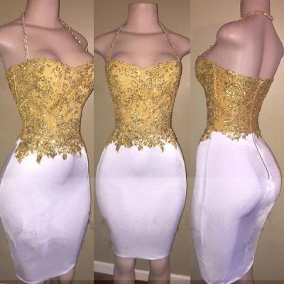 2019 Gold and White Prom Dresses Lace Beading Sheath Short Homecoming Dress_2