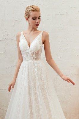 Gorgeous Spaghetti Straps Sweep Train V-neck Lace-Up Lace Wedding Dresses_13