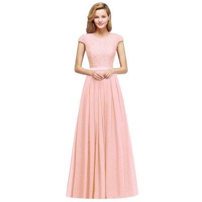 Cap Sleeves Floor Length Jewel Lace Chiffon Bridesmaid Dress | Cheap Prom Dresses_5