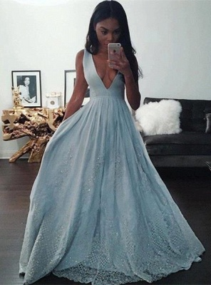 Pretty Beading Lace Baby-Blue V-neck Sleeveless Prom Dress_2