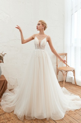 Elegant Spaghetti Straps Lace Up A-line Floor Length Lace Tulle Wedding Dresses_9