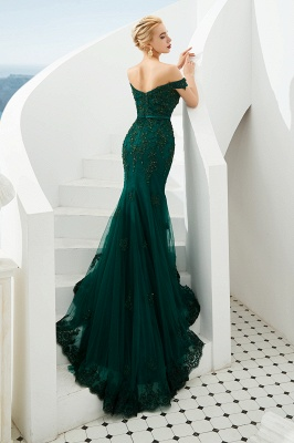 Gorgeous Off the Shoulder Jade Long Mermaid Prom Dresses | Floor Length Evening Dresses_4