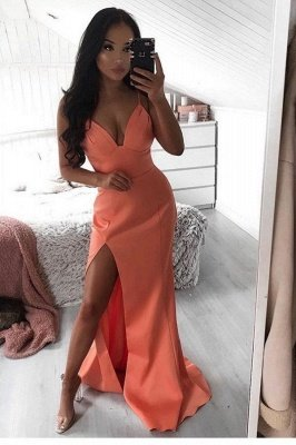 Chic Spaghetti Straps V-neck Front Slit Long Prom Dresses | Sexy Evening Dresses