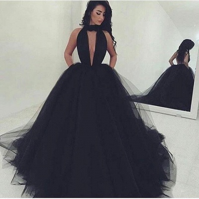 Black Ball Gown Prom Dresses Halter Neck Keyhole Neckline with Pockets Chic Evening Gowns_2