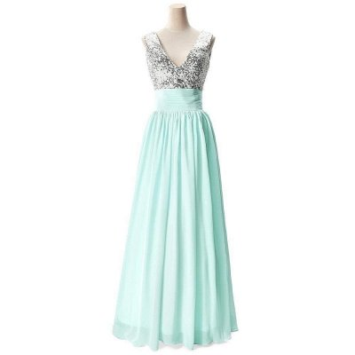 A-line V-neck Chiffon Party Dress With Sequined_5