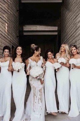 Floor Length Spaghetti Straps Elegant White Bridesmaid Dresses | Gorgeous Wedding Guest Dresses_1