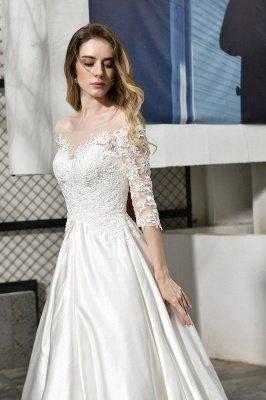 Glamorous 3/4 Sleeves Floor Length Length A-Line Lace Wedding Dresses_9