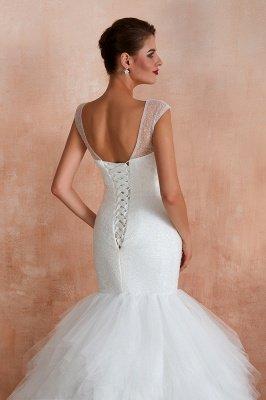Floor Length V-neck Cap Sleeves Sexy Mermaid Wedding Dresses | Affordable Bridal Gown_9