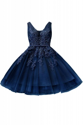 Cheap A-line Knee-length Tulle Prom Dress with Appliques in Stock_6