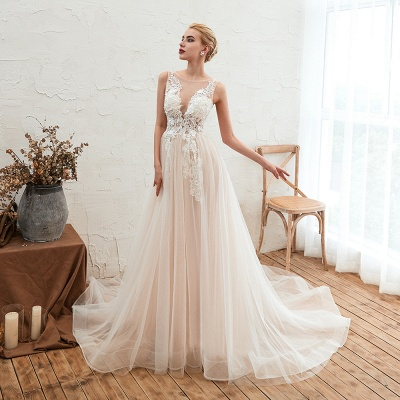 Round Neckline Sleeveless A-line Lace Up Sweep Train Lace Appliques Wedding Dresses_8