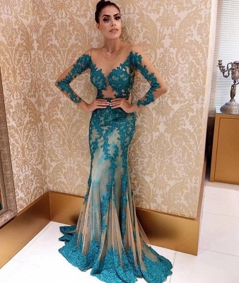 Sweep Train Jewel Elegant Lace Applique Prom Dresses with Long Sleeves_2