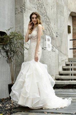 Tulle Lace Sleeveless Sexy Mermaid Wedding Dress_11