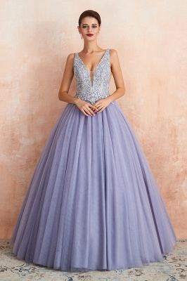 Straps V-neck Sexy Applique Long Prom Dresses | Glamorous Puffy Evening Dresses