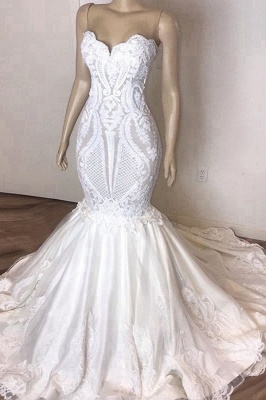 Strapless Sweetheart Lace  Mermaid Wedding Dresses | Sexy Fit-and-Flare Bridal Gowns