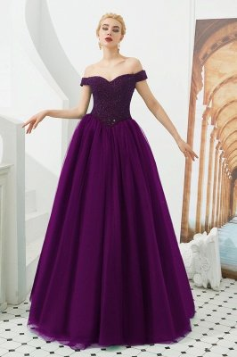 Off the Shoulder Sweetheart Jade A-line Long Prom Dresses | Elegant Evening Dresses Cheap_1