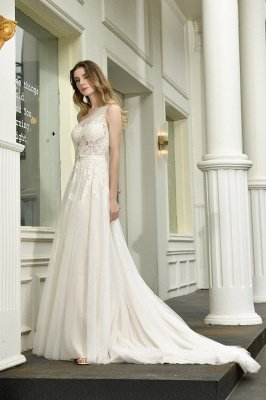 One Shoulder Tulle Sexy A-Line Lace Wedding Dress_11