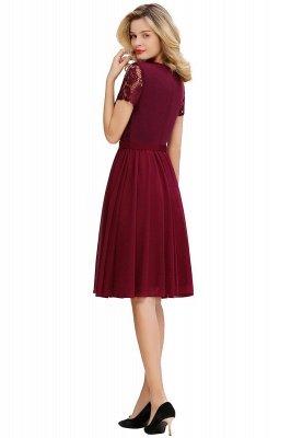 Jewel Kee Length Short Sleeves Lace Bridesmaid Dresses   Burgundy Wedding Gues Dresses_2