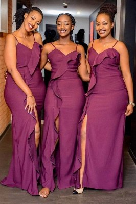 Spaghetti  Straps Front Slit Long Cheap Bridesmaid Dresses | Sexy Maid of Honor Dresses_1