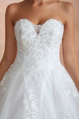 Floor Length Strapless Sweetheart A-line Gorgeous Lace Wedding Dresses_9