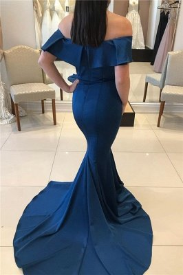 Sweep Train Off The Shoulder Sexy Mermaid Navy Blue Prom Dresses_2