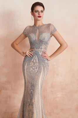 Cap Sleeves Keyhole Jewel Gorgeous Beaded Long Prom Dresses | Elegant Long Evening Dresses_15