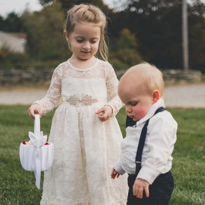 Lovely Jewel Long Beaded Lace Flower Girl Dresses with Long Sleeves_3