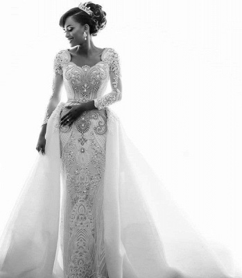 Luxury Lace Appliques Mermaid Wedding Dresses  | Beads Long Sleeve Gorgeous Bridal Gowns_6