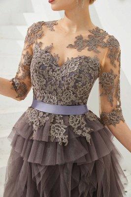 Elegant Jewel Half Sleeves Ribbon Belt A-line Lace Tulle Prom Dresses_10