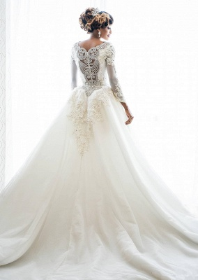 Luxury Lace Appliques Mermaid Wedding Dresses  | Beads Long Sleeve Gorgeous Bridal Gowns_3
