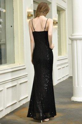 Black Spaghetti Strap V Neck Sequined Front Slit Floor Length Sheath Prom Dresses | Backless Evening Gown_7