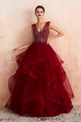 Sleeveless V-neck Sexy Long Tiered Beaded Prom Dresses | Elegant Organza Long Evening Dresses