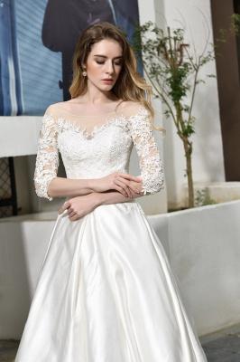 Glamorous 3/4 Sleeves Floor Length Length A-Line Lace Wedding Dresses_11