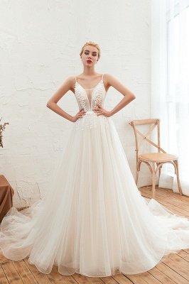 Elegant Spaghetti Straps Lace Up A-line Floor Length Lace Tulle Wedding Dresses_7