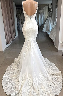 Spaghetti Straps  Sweetheart Lace Mermaid Wedding Dresses | Trumpet Style Bridal Gowns_3