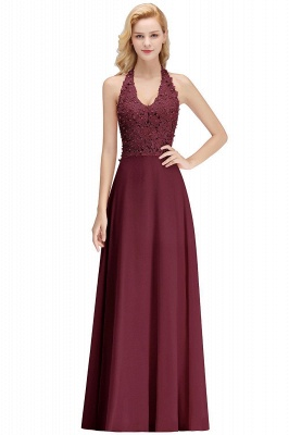 Elegant Halter A-line Appliques Chiffon Long Bridesmaid Dresses | Simple Wedding Guest Dresses_13