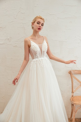 Elegant Spaghetti Straps Lace Up A-line Floor Length Lace Tulle Wedding Dresses_18