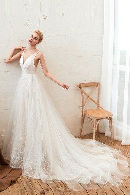 Gorgeous Spaghetti Straps Sweep Train V-neck Lace-Up Lace Wedding Dresses_4