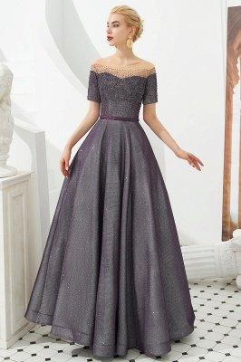Glamorous Round Neckline Short Sleeves Beaded Belt A-line Floor Length Prom Dresses_4