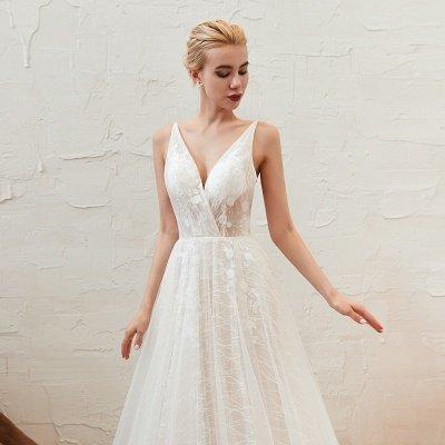 Gorgeous Spaghetti Straps Sweep Train V-neck Lace-Up Lace Wedding Dresses_14