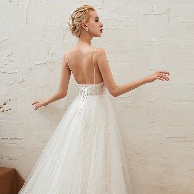 Gorgeous Spaghetti Straps Sweep Train V-neck Lace-Up Lace Wedding Dresses_16